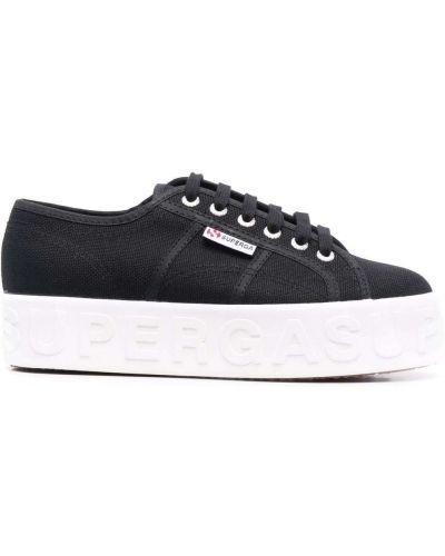 Черные кружевные кроссовки Superga