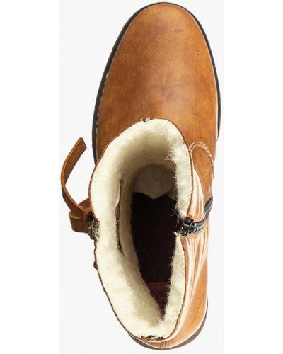 Кожаные полусапожки - коричневые Rieker
