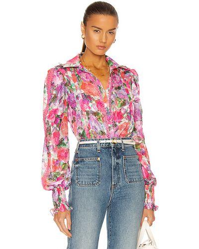 Текстильная розовая блузка с манжетами Patbo