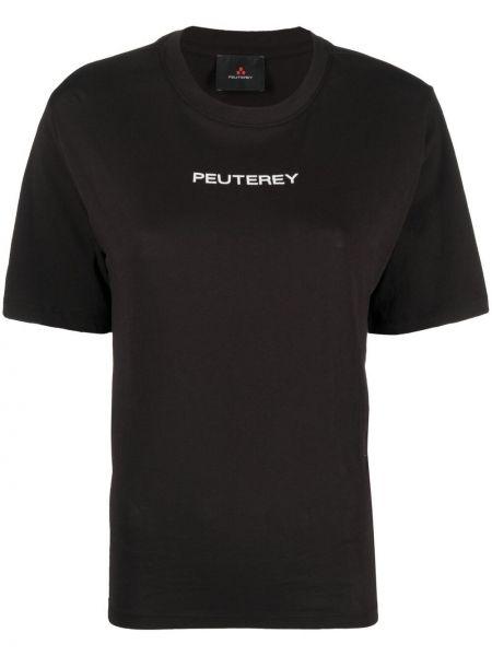 Прямая черная футболка с вырезом Peuterey