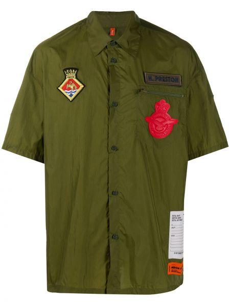 Zielony koszula z kołnierzem z łatami z kieszeniami Heron Preston