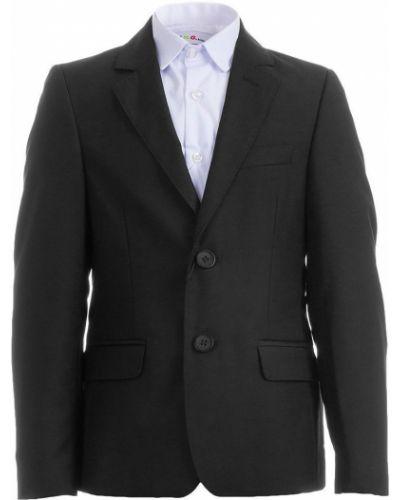 Шерстяной темно-синий брючный костюм на пуговицах с карманами Lilus