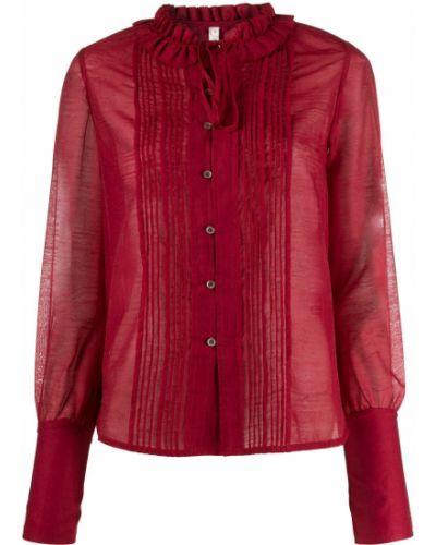 Нейлоновая красная рубашка с оборками на пуговицах Renli Su