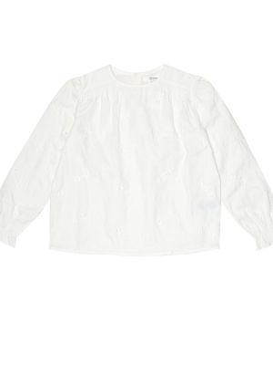 Ватная хлопковая белая блузка Bonpoint