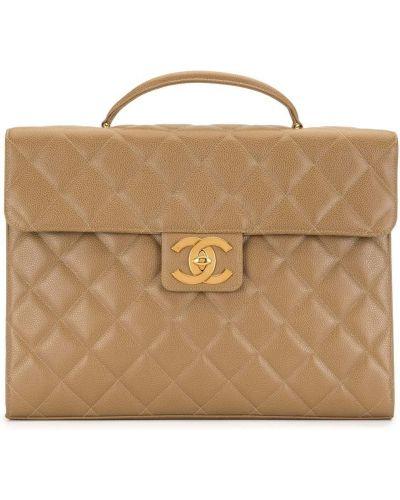 Skórzany teczka złoto z kieszeniami z diamentem Chanel Pre-owned