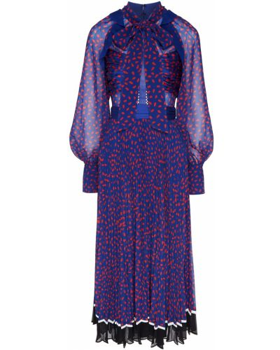 Коктейльное платье со складками расклешенное Self-portrait