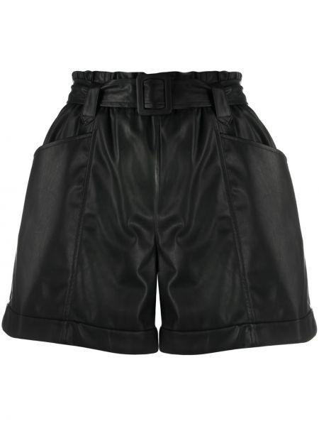 Кожаные черные шорты свободного кроя Liu Jo