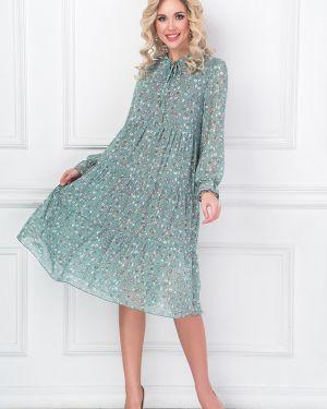Шифоновое плиссированное платье с вырезом с завязками Bellovera