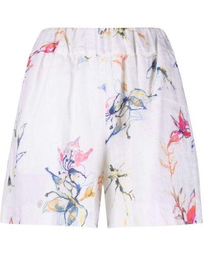 Белые с завышенной талией шорты с карманами 120% Lino