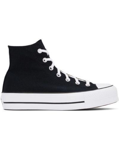 Белые высокие кроссовки на платформе на каблуке Converse