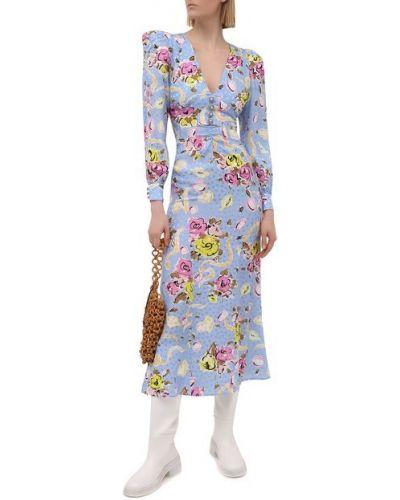 Шелковое синее платье с подкладкой Alessandra Rich