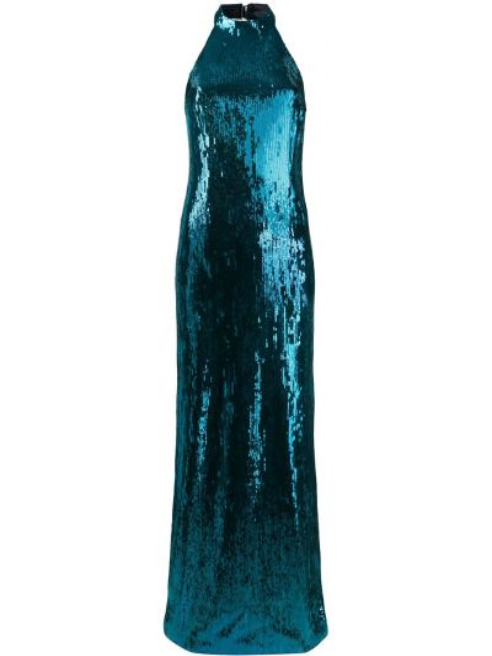Синее платье с пайетками с вырезом на молнии Galvan