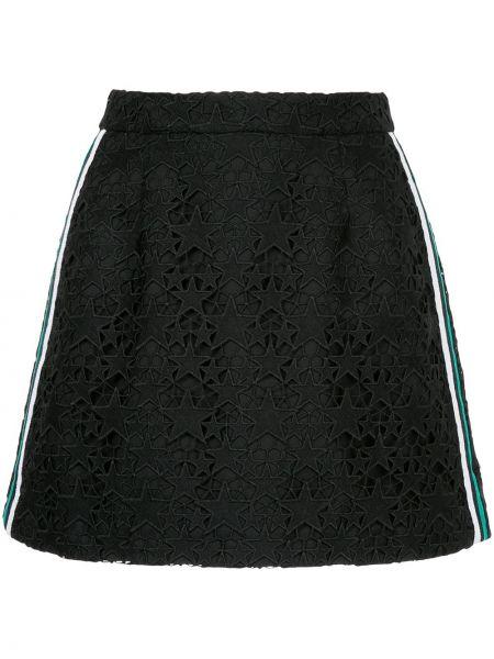 Плиссированная черная юбка мини из вискозы с декоративной отделкой Guild Prime