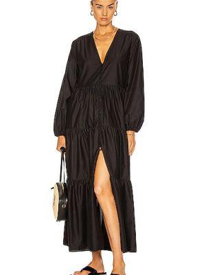 Хлопковое черное платье макси с длинными рукавами Matteau