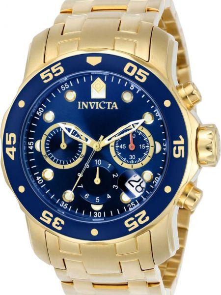 Со стрелками спортивные часы водонепроницаемые золотые Invicta