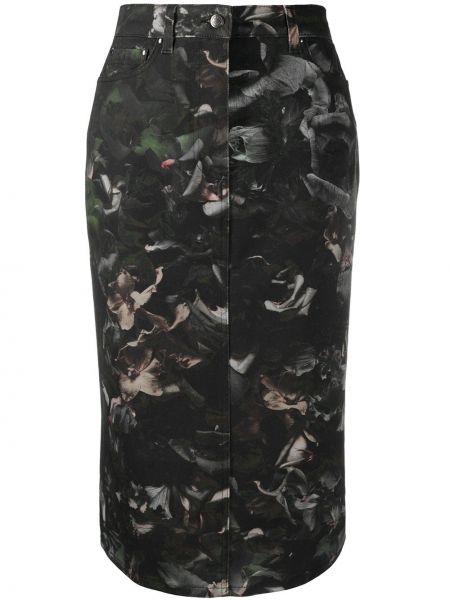 Хлопковая черная юбка карандаш с карманами Paul Smith