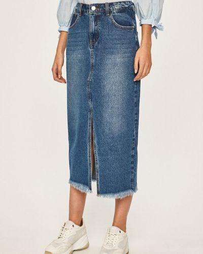 Синяя юбка карандаш с поясом в рубчик с рукавом 3/4 Answear