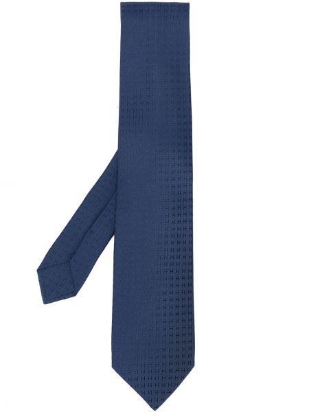 Шелковый синий галстук Hermes