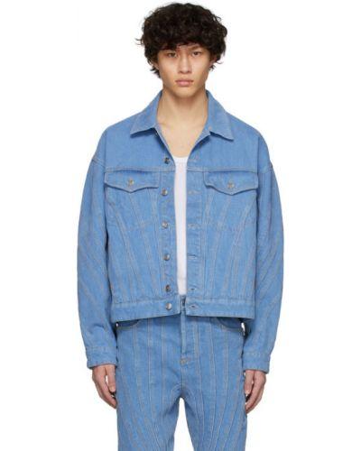 Niebieskie jeansy srebrne z długimi rękawami Mugler
