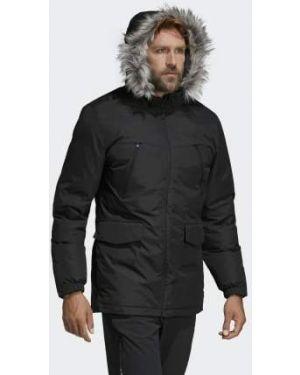 Черная зимняя куртка с декоративной отделкой из искусственного меха с капюшоном Adidas