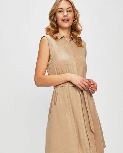 Расклешенное бежевое платье с карманами Review