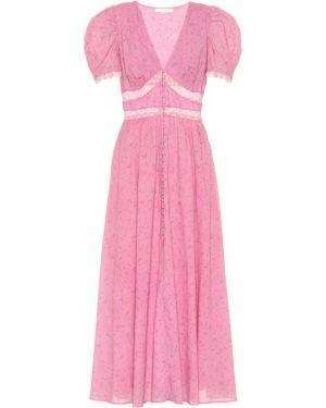 Ватное хлопковое тонкое розовое платье миди Loveshackfancy