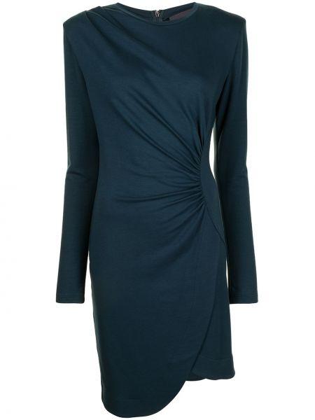 Синее шерстяное платье макси с запахом Ginger & Smart