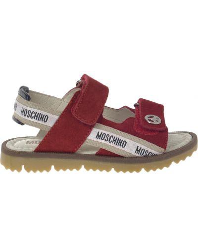 Сандалии красный кожаный Moschino