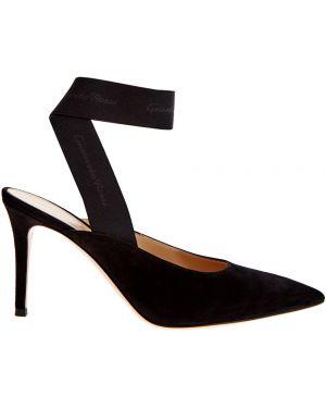 Туфли на каблуке кожаные бархатные Gianvito Rossi