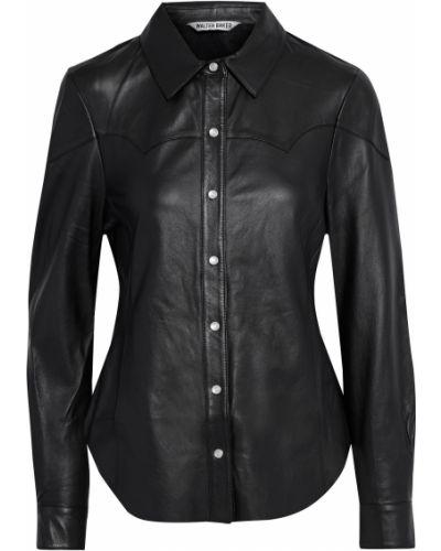 Кожаная черная рубашка с карманами Walter Baker