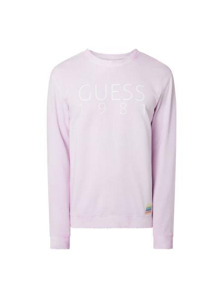 Prążkowana różowa bluza bawełniana Guess