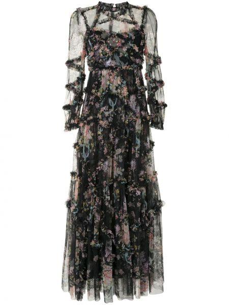 Платье со вставками прозрачное с воротником на молнии Needle & Thread