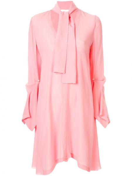 Асимметричное розовое платье макси на молнии Kitx
