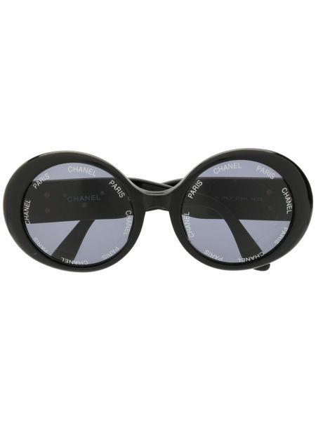 Прямые муслиновые черные солнцезащитные очки круглые Chanel Pre-owned