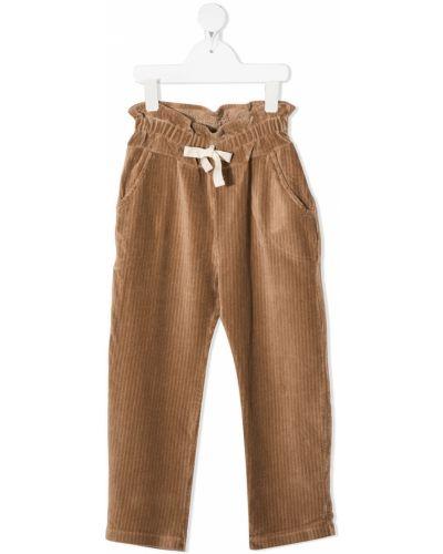 Хлопковые брючные коричневые брюки с карманами Buho