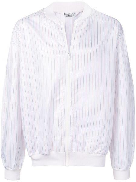 Белый акриловый пиджак на молнии с манжетами Pierre Cardin Pre-owned