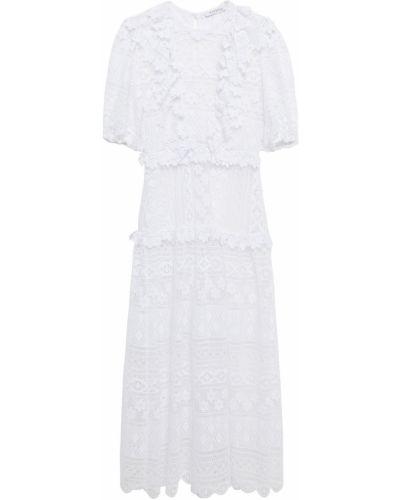 Biała sukienka midi koronkowa z gipiury Vivetta