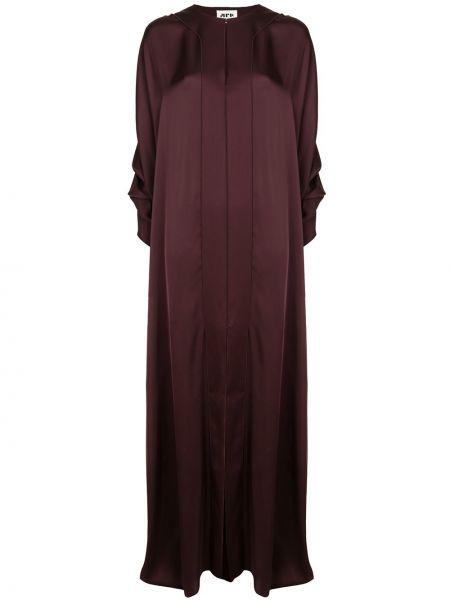 Фиолетовое плиссированное платье макси с оборками с вырезом Maison Rabih Kayrouz