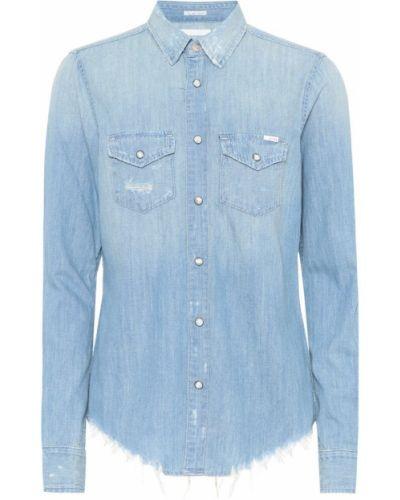 Niebieski bawełna bawełna koszula jeansowa Mother
