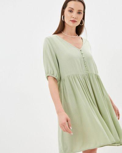 Прямое зеленое платье А-силуэта Ichi