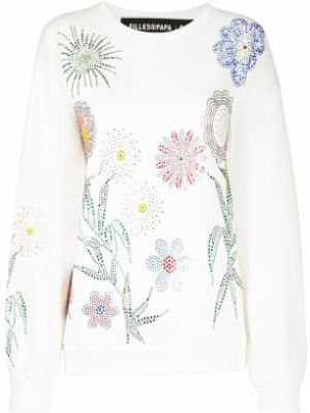 Biała bluza z długimi rękawami bawełniana Filles A Papa