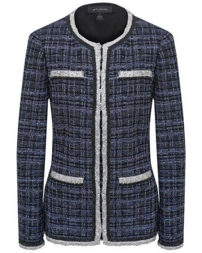 Синий пиджак из вискозы с карманами St. John
