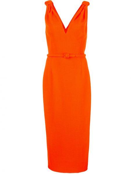 Платье миди в рубчик с V-образным вырезом Oscar De La Renta