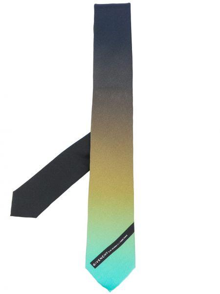 Jedwab czarny krawat z łatami Givenchy