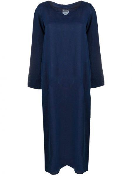 Синее длинное льняное платье с V-образным вырезом Kristensen Du Nord