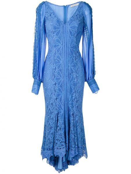 Синее шелковое ажурное платье миди на пуговицах Martha Medeiros