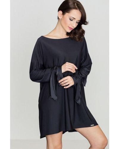 Czarna sukienka materiałowa Katrus
