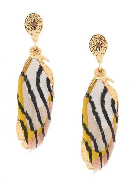 Золотистые желтые серьги металлические с бабочкой Gas Bijoux