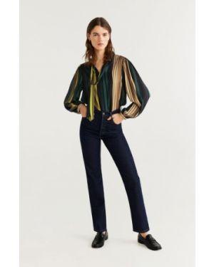Блузка с длинным рукавом в полоску с V-образным вырезом Mango