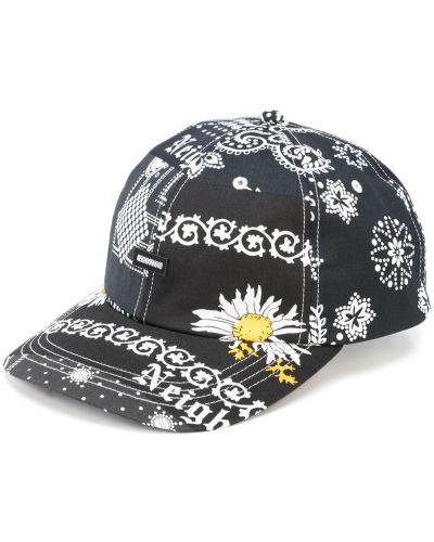 Czarna czapka bawełniana z printem Neighborhood
